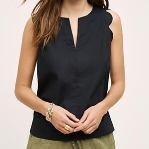 Anthro Maeve Scalloped Sleeve Top